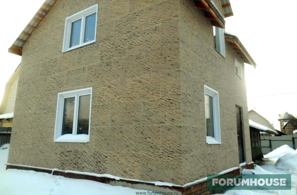 фото облицовка дома термопанелями с фактурой гибкого камня