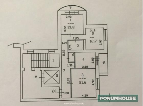 Фото планировка квартиры, примыкающей к лифту