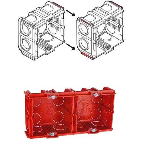 Фото объединение однопостовых коробок в двойной модуль