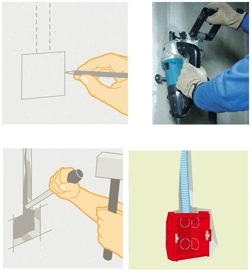 Фото иллюстрация процесса монтажа подрозетника (разметка, штробление, установка)