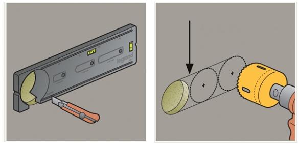Фото иллюстрация применения монтажного шаблона для подрозетников