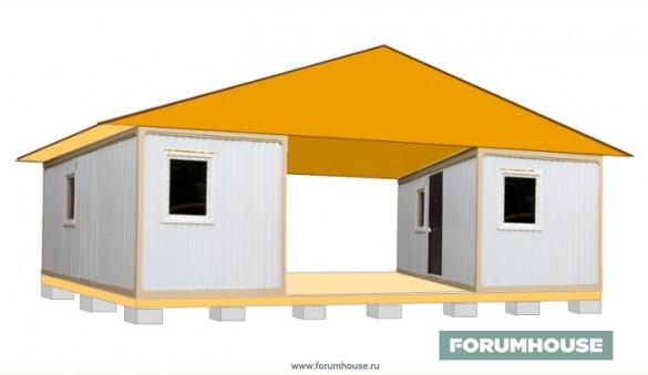Фото мобильный дом из бытовок с галереей посредине