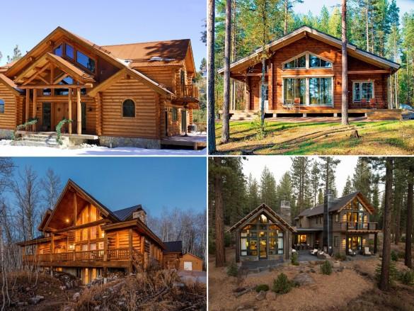 Фото коллаж красивые деревянные дома