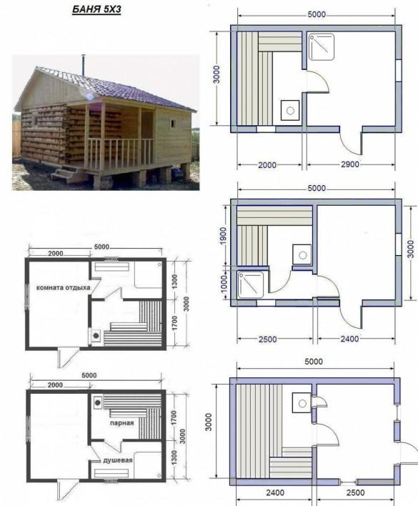 Фото визуализация и планировки бани размером 5 на 3 метра